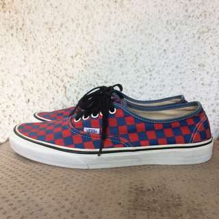 Vans authentic checkerboard red/blue golden coast