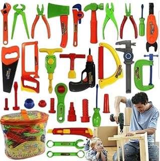 34 Pcs Repair Tools Set Boy Kid Toys Craftsman Pretend Play Fixing Skill GCC * Pre Order*