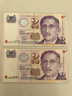 Singapore 2000 Millennium Commemorative $2 Notes