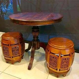 Antique Peranakan teak table and stools