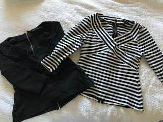 Portmans stripe and black long sleeve top size M