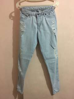 Light denim ripped jeans