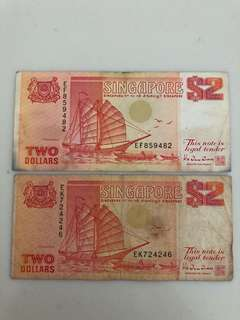 Singapore Orange $2 Note - Ship Series