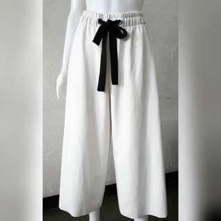 Zara belted white wide leg pants