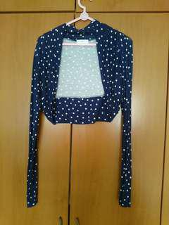 Polka Dot Blue Cropped Cardigan
