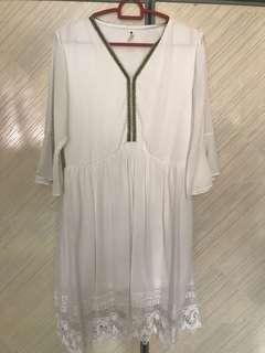 White crochet chiffon dress