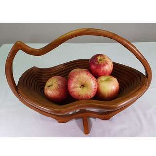 Wooden Basket Tray Teak Wood Handmade