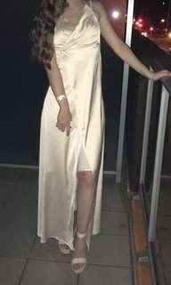 Champagne slit fashion nova dress