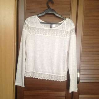 H&M Lace Detailed Longsleeves Top