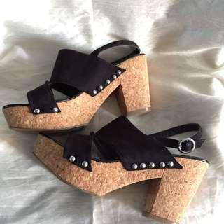 Black Suede Platform Sandals / Wedges
