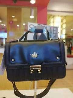 Sophie Paris Black faux leather sling bag