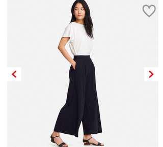 🚚 Uniqlo黑色寬擺褲(size-L)