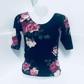 Black Floral Scoopback