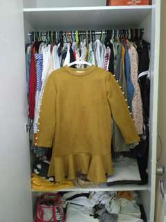 Mustard dress/long top with ruffles and pearls