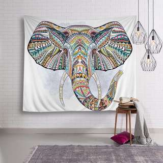 🚚 小預算佈置術彩色東南亞大象裝飾掛布壁畫直播背景Decorative Cloth Hanging Cloth Mural