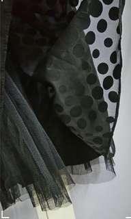 🚚 黑點點蕾絲平口小洋裝蓬裙 #畢業一百元出清