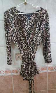 INC Leopard print wrap top L