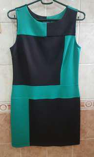 Green/Black Color Block Dress US12