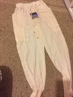 NEW off white cream silk like jogger high waisted pants