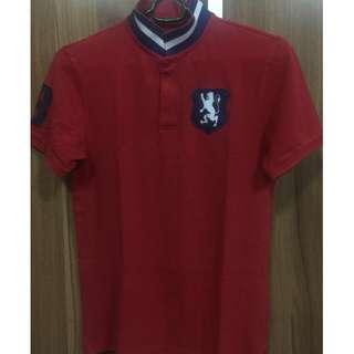 Giordano mens lion red polo shirt M