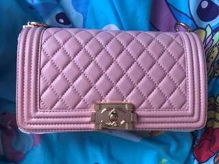 全新手袋 粉紅色 25cm boy chanel款
