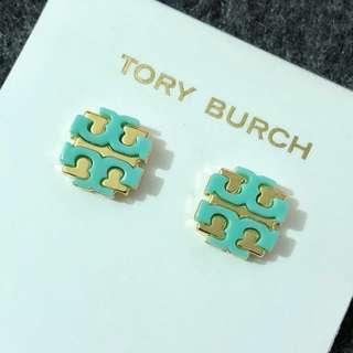 Tory Burch Stud Earrings Gold base Green 金底綠經典Logo 耳環