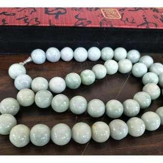 天然緬甸玉項鏈A貨 翡翠珠寶 如意翡翠 珠串 44顆