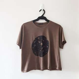 Zara Brown Planet Crop Top
