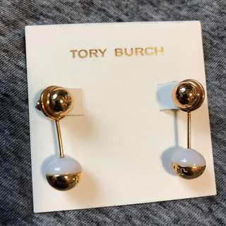 Tory Burch Sample Earrings gold/white 金色配白色天然石吊飾耳環