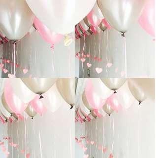 Pink heart balloon tags