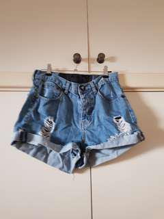 One Teaspoon Hawks High Waisted Denim Shorts Size 8/S/26 inches