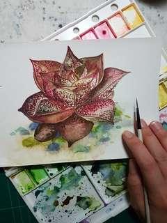 Succulent water colour painting