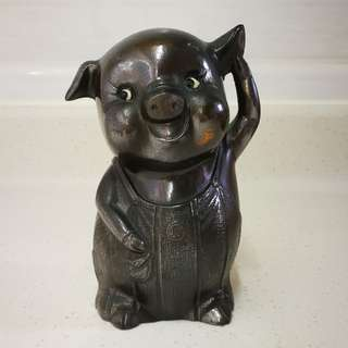 恆生 豬仔錢罌 銅豬 錢箱 Bronze Pig Piglet  Antique Money Saver