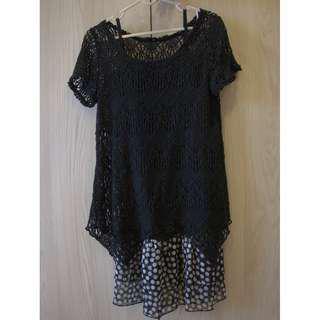 🚚 #換你的捐款發票 夏天的低調洋裝 鏤空罩衫+點點內搭