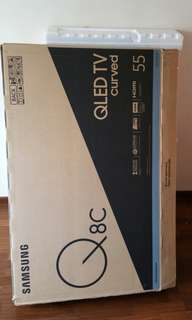 "Samsung curved 55"" QLED TV carton Box (with thermocol/styrofoam inner)"