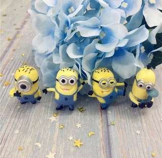 4 pcs Minions Cake Topper Figurine Toy Cupcake Decoration Toppers Figure Birthday not Fondant Felonious Gru