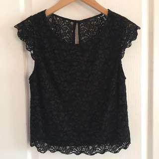 ARITZIA Black Lace Talula Top