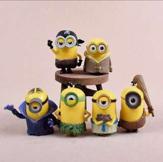 6 pcs Minions Cake Topper Figurine Toy Cupcake Fondant Toppers Figure Birthday Decoration Display
