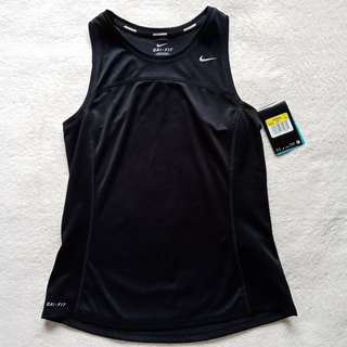 Auth NIKE Womens Miler Running Dri Fit Sports Sleeveless Tank Top