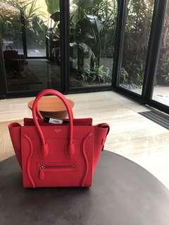 Celine Bag luggage red micro size handbag
