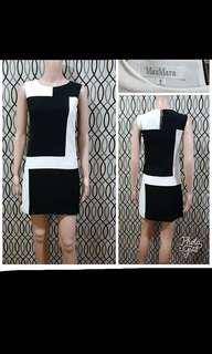 Max Mara black and white shift dress