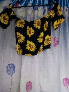 Sunflower off shoulder croptop