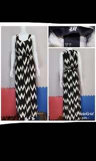 H&M black and white maxi dress
