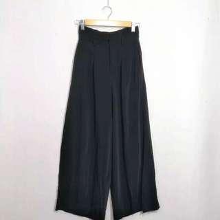 日本單 包郵 24.5腰 超靚涼爽 雪紡黑色闊腳裙褲