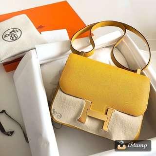 全新Hermes Constance mini Epsom Amber (金扣)