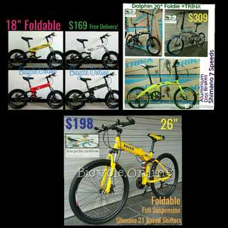 """Foldable Bicycles from $169 ✩ available in 18"""", 20"""", 24"""" & 26"""" ✩ Brand New : Mountain Bikes &  Road Bikes"""