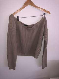 Beige knitwear off the shoulder