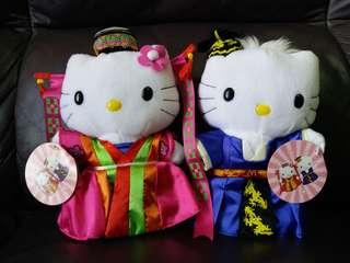 可愛 韓式 新娘新郎hello kitty公仔