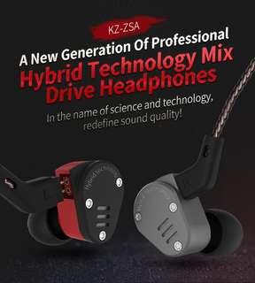 KZ ZSA earphones (Dual drivers) w/ mic