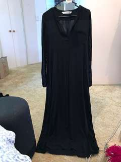 Seed femme black maxi dress long sleeve with pockets & breast pocket Size 10